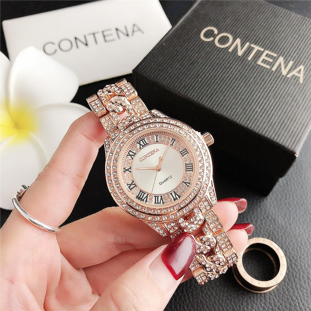 1025      CONTENA Trend Full Diamond Small Dial Watch Women's Watch