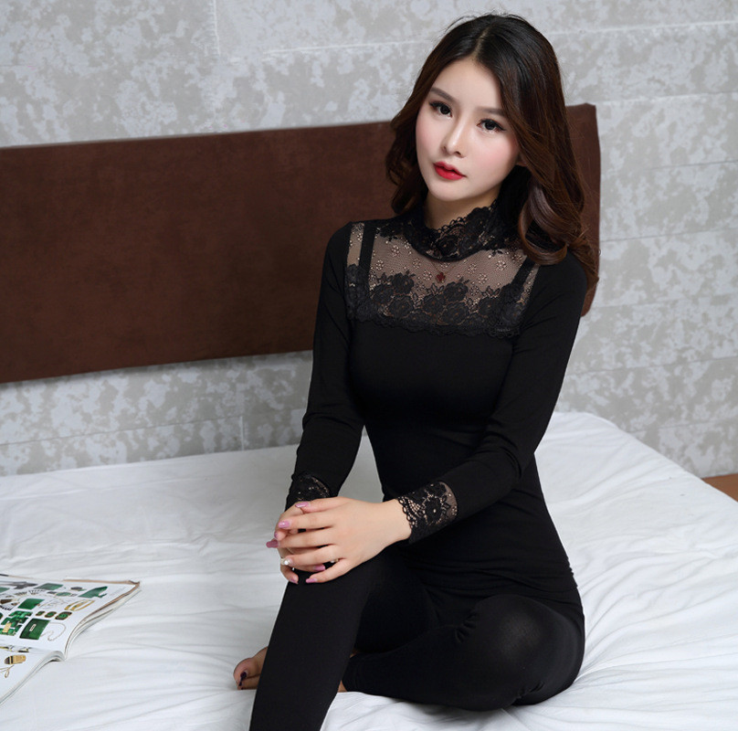 Elegant Floral Thermal Underwear Women Modal Turtleneck Lace Second Female Thermal Skin High Quality Winter Ladies Long Johns