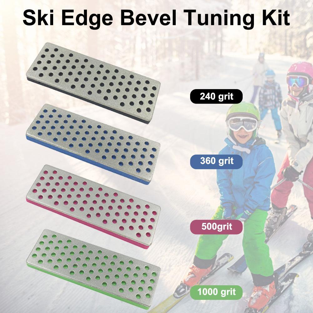 4PCS Snowboard Ski Edge Bevel Tuning Kit Wear-resistant Diamond Edge Sharpener Sharpener Edge Care Kit