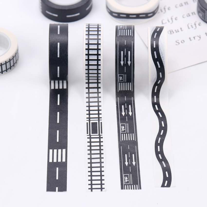 1PC Creative DIY Tape Railway Train Curve Design Road Traffic Sticker Label Craft Masking Tape Kids Toy Car Play Aisle 15mmX10m
