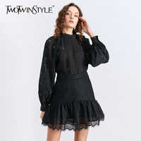 TWOTWINSTYLE Elegant Two Piece Set Women V Neck Lantern Long Sleeve Shirt High Waist Ruffles Ruched Skirt Hollow Out Suit Female