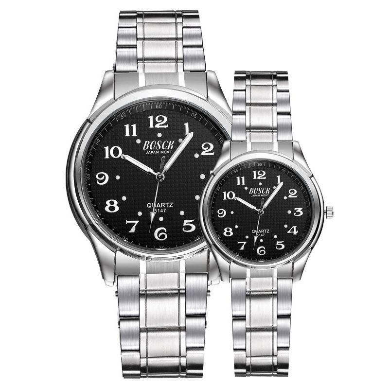2019 Men Fashion 30 Meters Waterproof Luminous Digital Dial Steel Belt Quartz Watch Ladies White Luminous Pointer Couple Watch