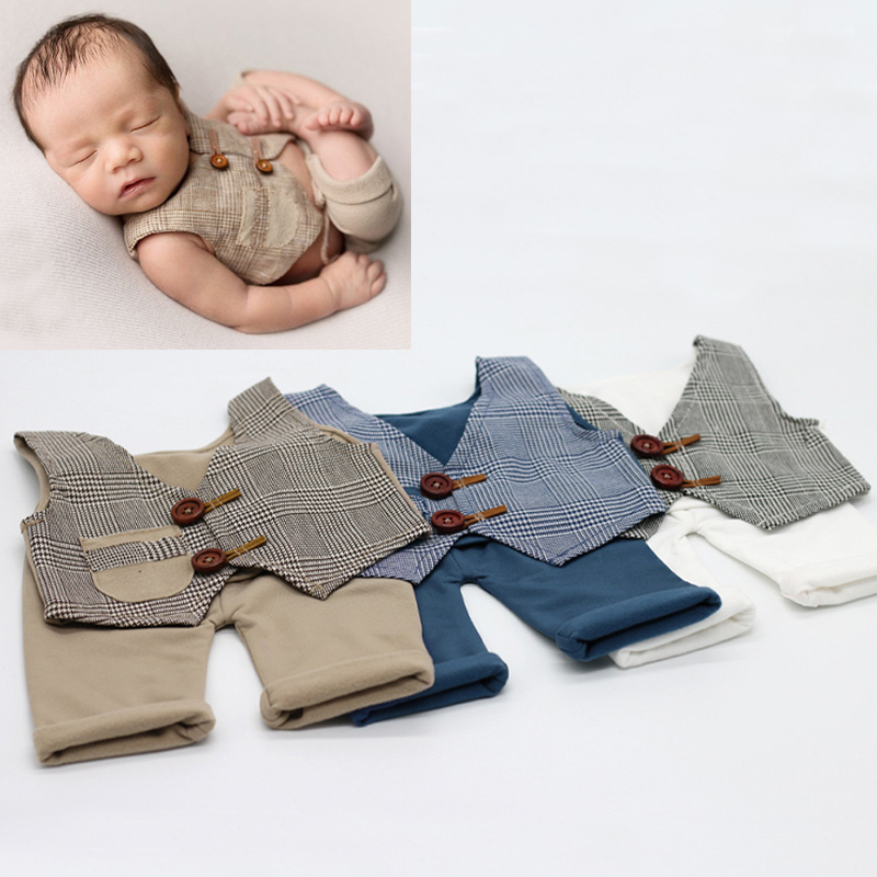 Props Newborn Baby Photo Studio Vest + Pants Set Newborn Props for Photography Photobooth Accessories Bebe Fotografia Product