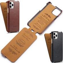 Étui en cuir à rabat Vertical pour iPhone 11 Pro Max, rétro, Vintage, pliable, haut et bas
