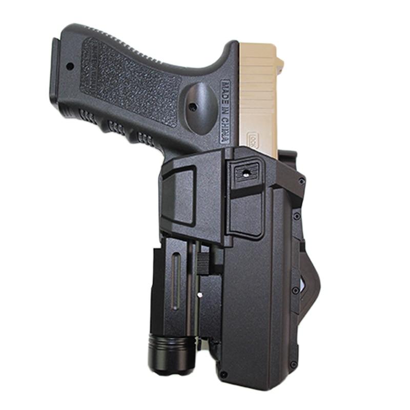 Taktik hareketli tabanca Airsoft kılıfları Glock 17 18 el feneri veya lazer monte kılıfı sağ el bel silah kılıfı