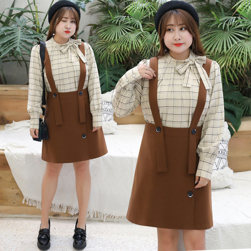 2019 Spring Clothing New Style Plus-sized Extra Large WOMEN'S Dress Fat Mm Suspender Skirt Set Checkered Two-Piece Set 1592 K!