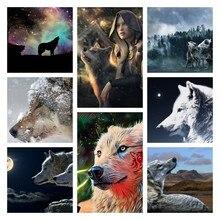 Алмазная живопись, животное, волк, искусство, роспись 5D, подарок «сделай сам», полноразмерная/Круглая Мозаика стразы, Набор для вышивки крестиком для украшения дома, стены