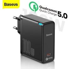 Baseus GaN 100W USB Typ C Ladegerät PD Quick Charge 5,0 4,0 USB-C Typ-C QC 5,0 Schnelle lade Ladegerät Für iPhone 12 Pro Macbook