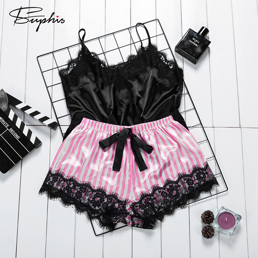 Suphis Satin Black Camis Top With Bow Stripe Shorts Sleepwear Women Pajama Set Sexy Lace Summer Pink Silk Nightwear Ladies 2020