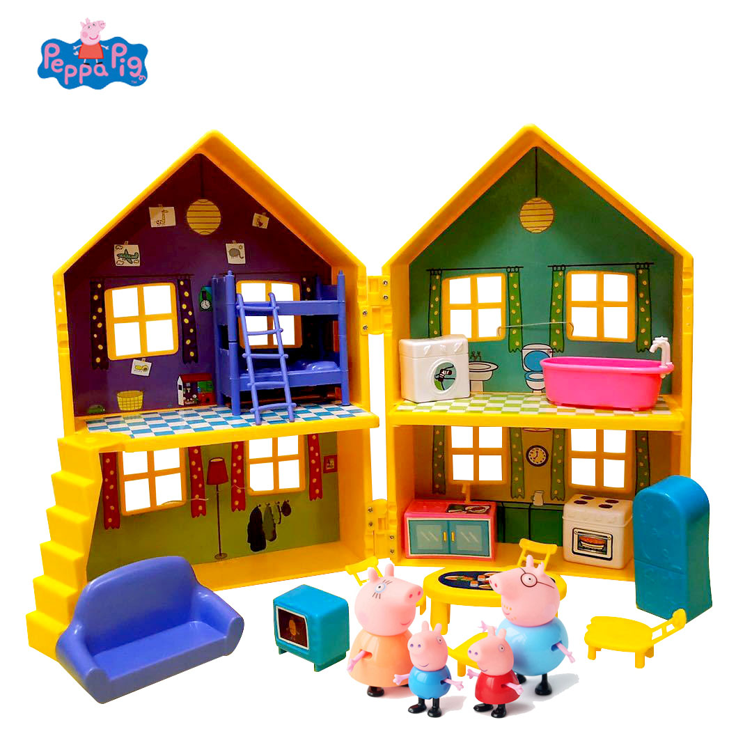 Peppa Pig Yellow Villa George Family Action Figure Toys Peppa Pig House Doll Model Children Birthday Gifts