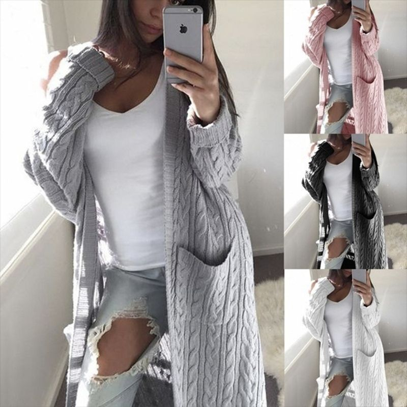 Long Cardigan Women Sweaters Female Long Sleeve Pocket Winter Cardigans Ladies Casual Knitwear Yellow Jumpers Jersey Punto Mujer