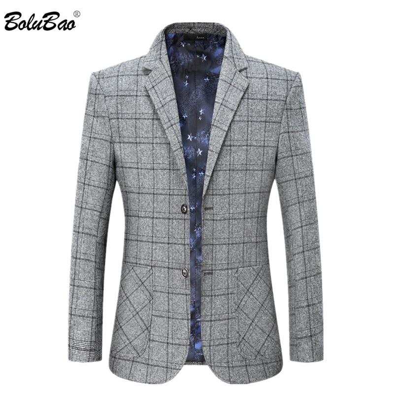 BOLUBAO Brand Men Casual Blazers Men's Business Plaid Small Suit Coats Spring Autumn New Dress Blazers Coat Male