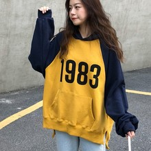 купить Contrast Color Oversized Hoodies Women Spring Autumn Korean Pop Hoody Women's Sweatshirt Letter Print Pullover Sweatshirt Woman дешево