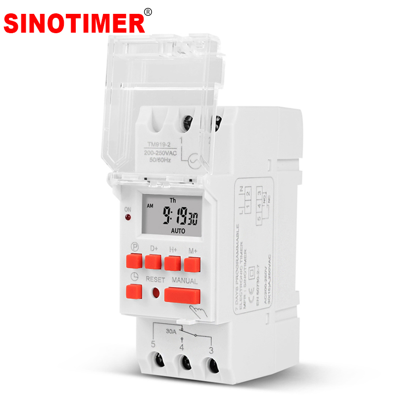 SINOTIMER 30A高負荷220V 7日間デジタルプログラマブルタイマースイッチリレー時間制御、プリセット時間でオン/オフ