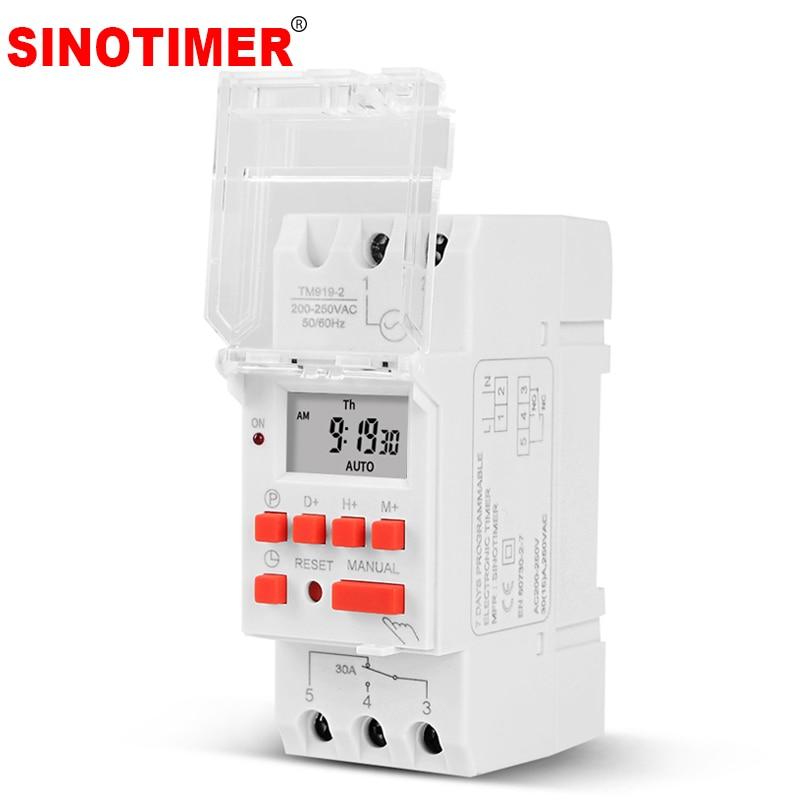 SINOTIMER 30A با بار بالا 220V 7 روز دیجیتال کنترل زمان کنترل رله TIMER SWITCH قابل برنامه ریزی برای زمان روشن یا خاموش
