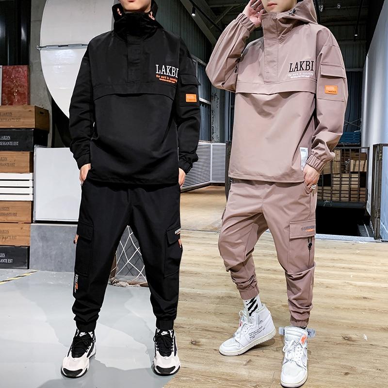 2019 Workwear jacket 남성 후드 자켓 + 바지 2PC 세트 야구 루스 풀오버 코트 & 롱 팬츠 남성 의류