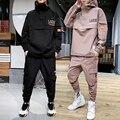 2021 Workwear jacke männer Kapuzen Jacke + Hosen 2PC Sets baseball lose Pullover mantel & Lange Hosen Herren kleidung