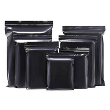 100Pcs Black Zip Lock Plastic Bag Zip Grip Seal Resealable Grocery Gift Craft Storage Pouches Reclosable Ziplock Package Bags