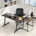 Компьютерный офисный стол, деревянный угловой стол L-образной формы, Многофункциональный ПК, ноутбук, учебный игровой стол, мебель для дома ...