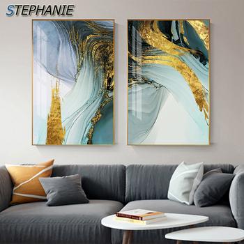 Nowoczesny abstrakcyjny zielony złoty folia płótno modne niebieskie plakat i obraz ścienny do salonu stylowy Cuadro Decorativo tanie i dobre opinie STEPHANIE Płótno wydruki Oddzielne Olej Streszczenie Unframed Nowoczesne Malowanie natryskowe Pionowe Prostokąta Abstract Nordic Fashion Modern