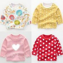 Осенние хлопковые топы для маленьких мальчиков и девочек, футболки с длинными рукавами Зимняя Повседневная футболка с рисунком для малышей Одежда для новорожденных, футболка