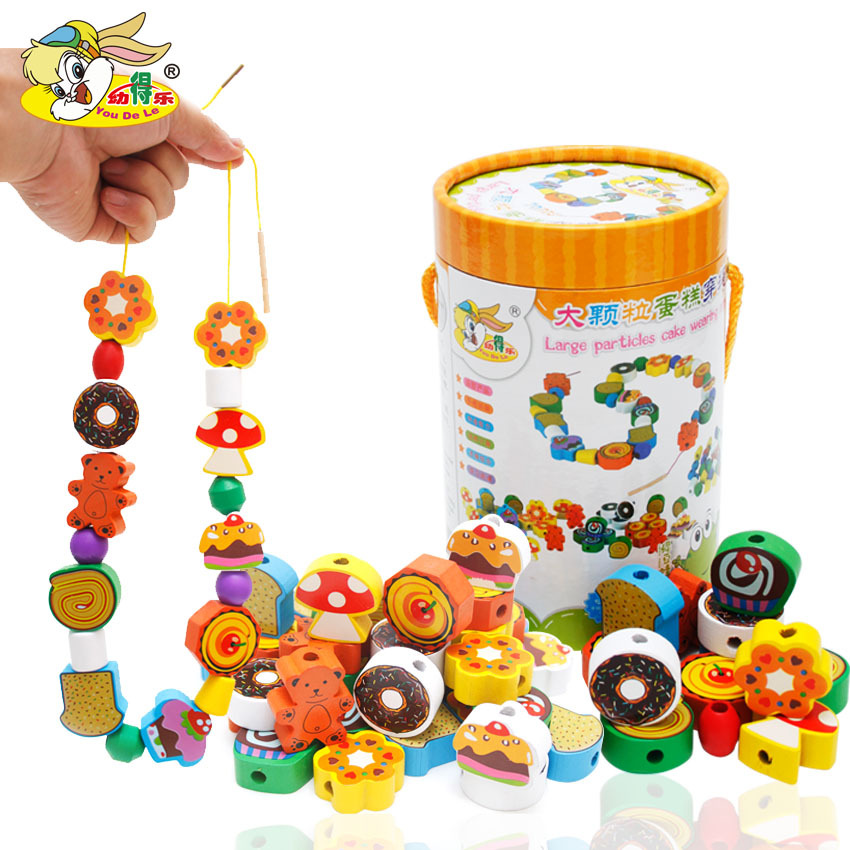 Wooden Cake Fruit Building Blocks Wear Beaded Bracelet Children's Early Education ENLIGHTEN Toy