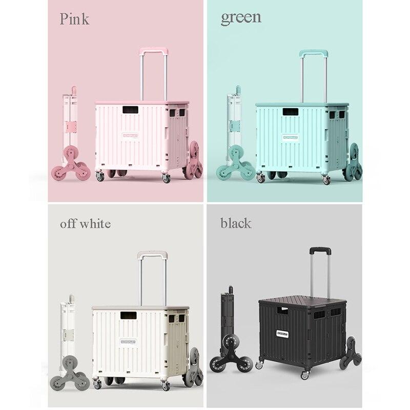 Upgrade 8-wheel folding trolley, 4-wheel climbing artifact, shopping cart trolley cart,trolley grocery shopping trailer, trolley