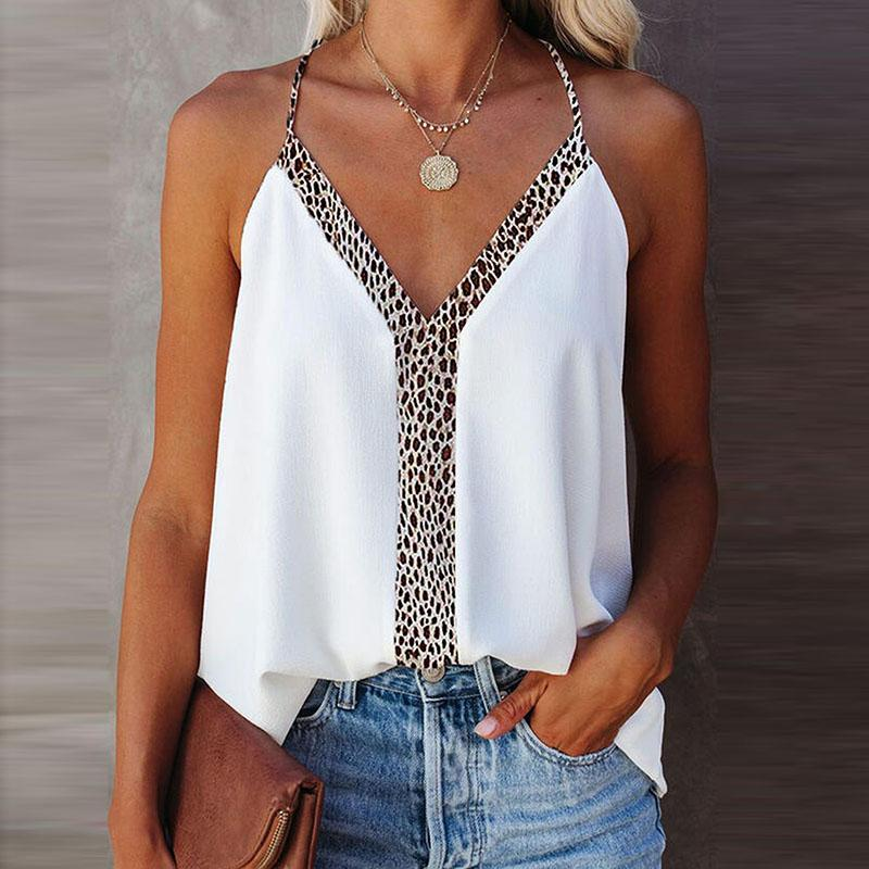 Summer Tops Women Sling Sleeveless Female Tops Deep V-Neck Sexy Strap Leopard Print Camis Ladies Casual Street Women's Top Tank