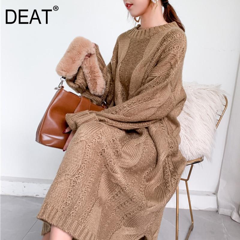 DEAT 2020 nouveau col rond lanterne manches grand évider pull en vrac longue robe en tricot femme hiver pull 19F-a142-04
