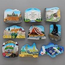 Singapur Merlion Viena Souvenir turístico mundial 3D magnético refrigerador Laos Italia Roma recuerdo muebles para el hogar Decoración regalo