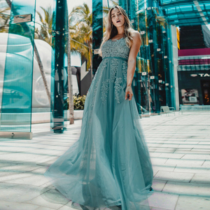Image 5 - Elegant Prom Dresses Long Ever Pretty A Line Double V Neck Lace Appliques Formal Evening Party Gowns Vestidos Formatura Longo