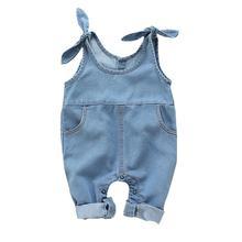Комбинезон джинсовый для маленьких девочек хлопковый комбинезон