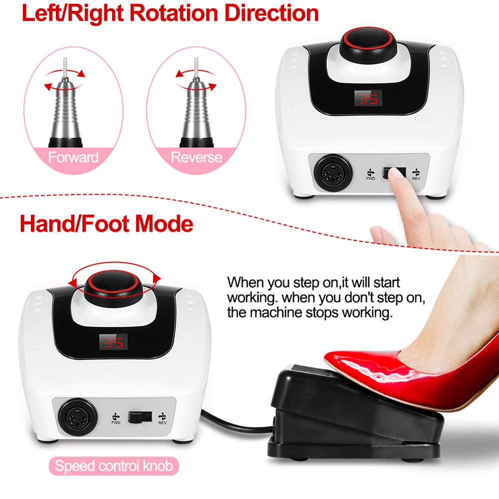 Electric Nail Drill Machine 32W 35000RPM Manicure Pedicure Machine