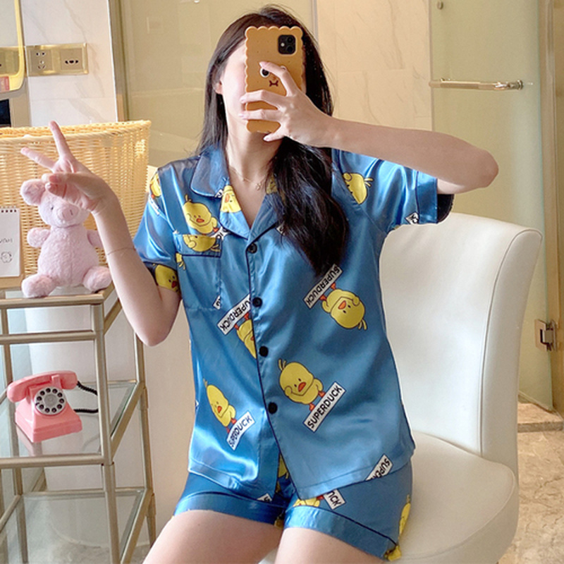 Short Sleeve Silk Pajamas Comfortable Women Summer Pajama Sets Printed Fake Silk Sleepwear Pyjamas Young Girl Style
