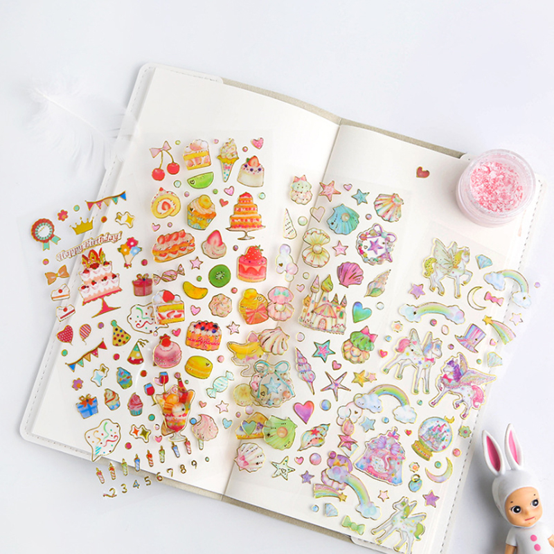 1pcs/lot Kawaii Hot Stamping Tansparent Diary Stickers Decoration Scrapbooking DIY Sticker Stationery