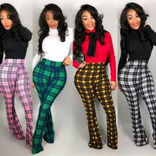 ANJAMANOR Vintage Sexy Plaid Flare Pants Women Fall Winter Trousers Women Winter High Waist Wide Leg Bell Bottom Pants D46-AB78