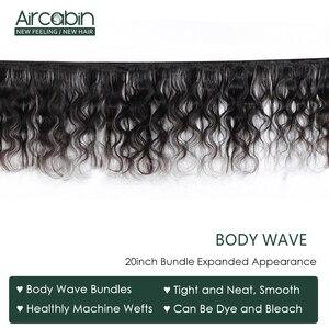 Image 3 - Aircabin pacotes de onda do corpo brasileiro com fechamento 30 Polegada remy extensões do cabelo humano trama dupla média marrom laço suíço