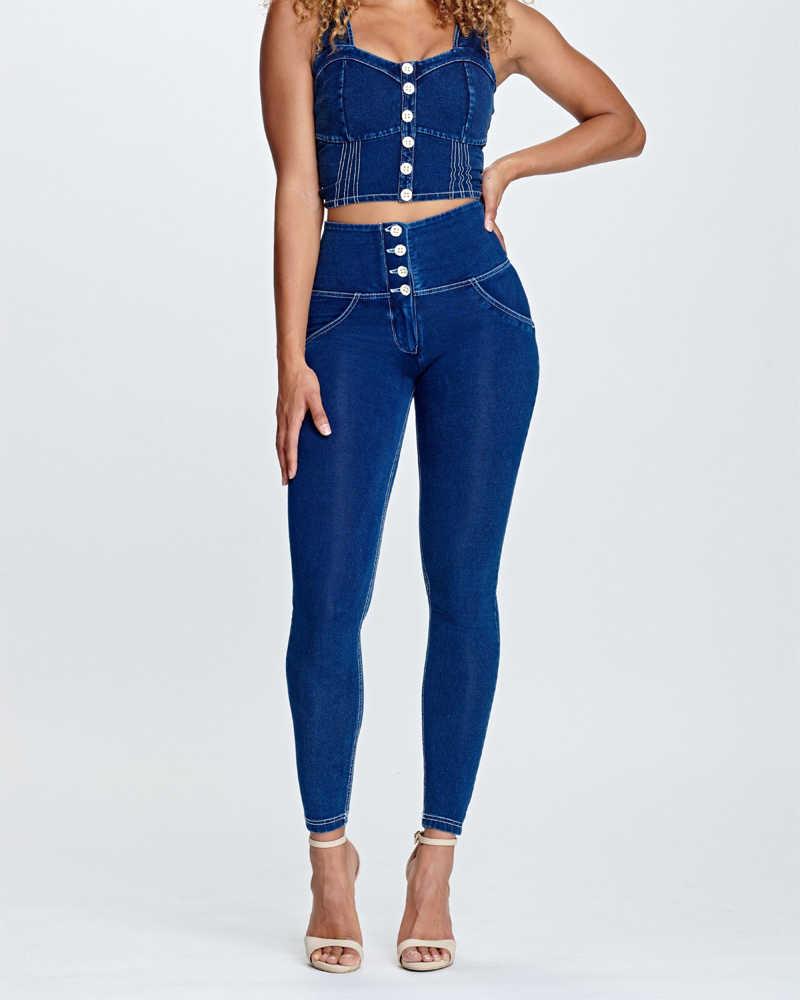 Melody Leggings Vaqueros Ajustados Para Nina Y Mujer Pantalones Vaqueros De Talle Alto Con Botones Azul Marino 2020 Pantalones De Yoga Aliexpress