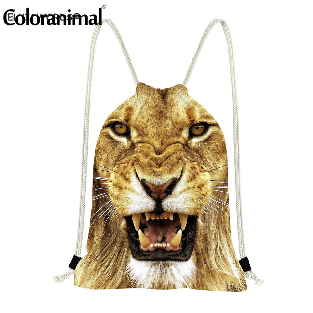 Coloranimal Drawstring Backpack For Women/Men Amimal Lion Printing Gmy Sack Bagpack Fitness Large String Storage Picnic Bag
