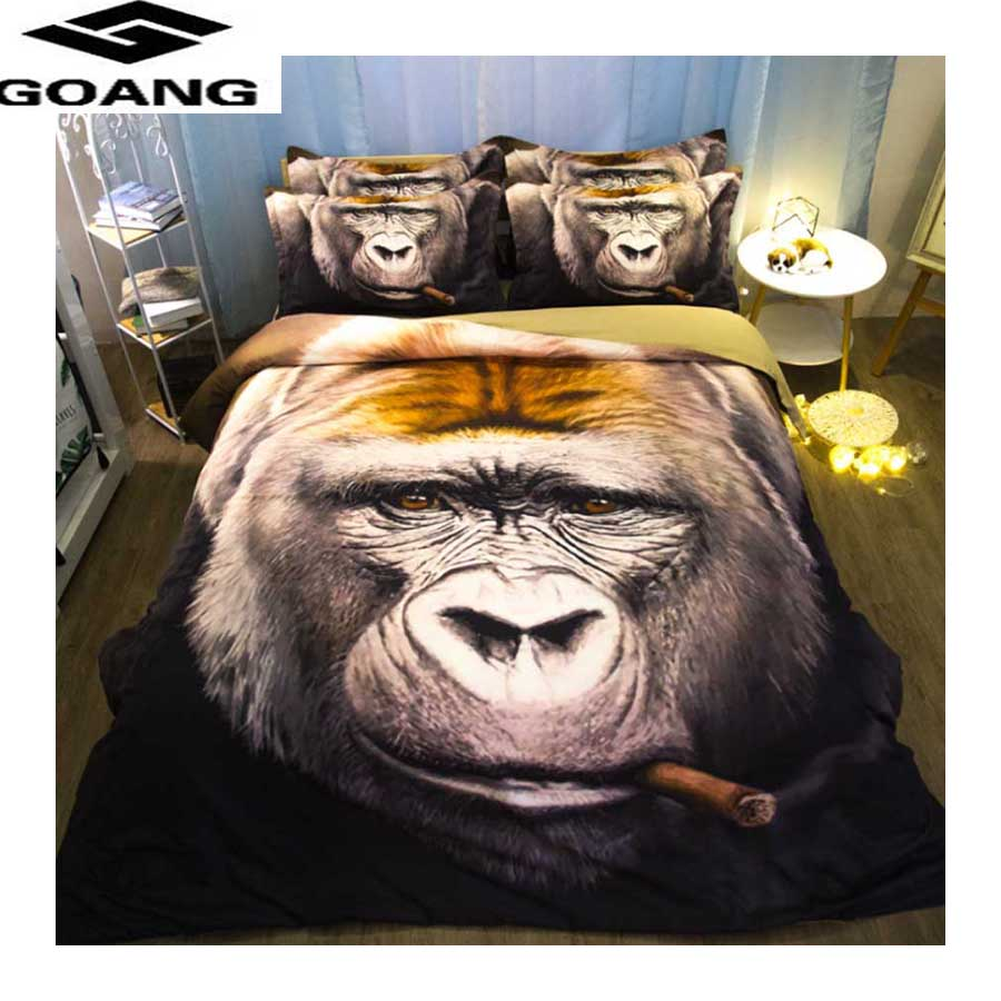 GOANG king size bedding set cotton home textile duvet cover 240x220 and pillowcases animal Gorilla printing queen comforter sets