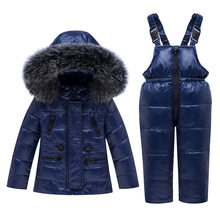 -30 Degree Winter Kids Clothing Sets Fur Collar Down Coats + Overalls Children Warm Snowsuit For Girls & Boys 1-5 Years(China)