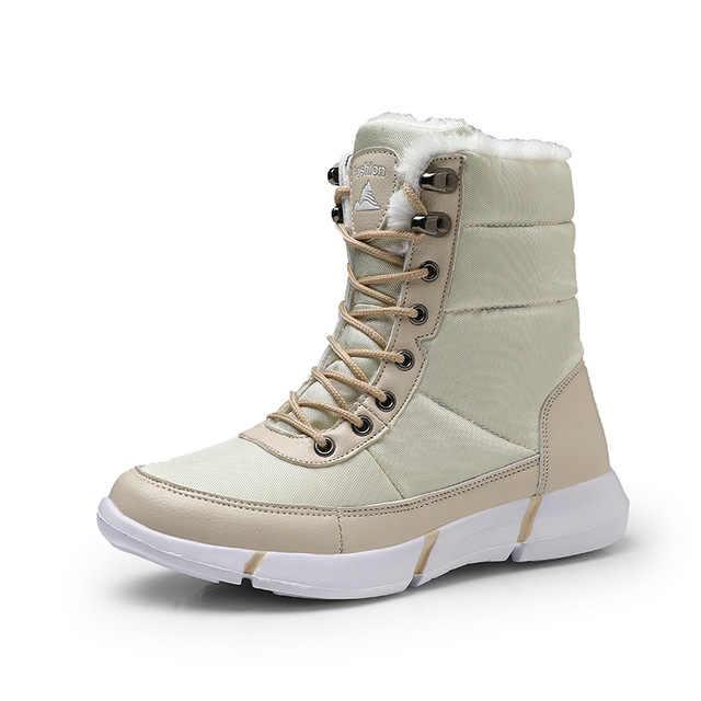Kış moda kar botları büyük boy 36-48 bot erkek su geçirmez yürüyüş Chaussure Homme ışık Zapatos De Mujer sıcak ayak bileği ayakkabı