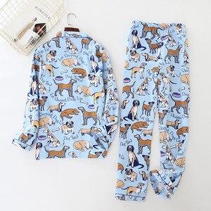 Image 2 - home suit Cotton Women Pajama Sets Cute Cartoon Dog Pyjamas Women Couples Sleepwear Casual Soft Female Suit Pijama Mujer