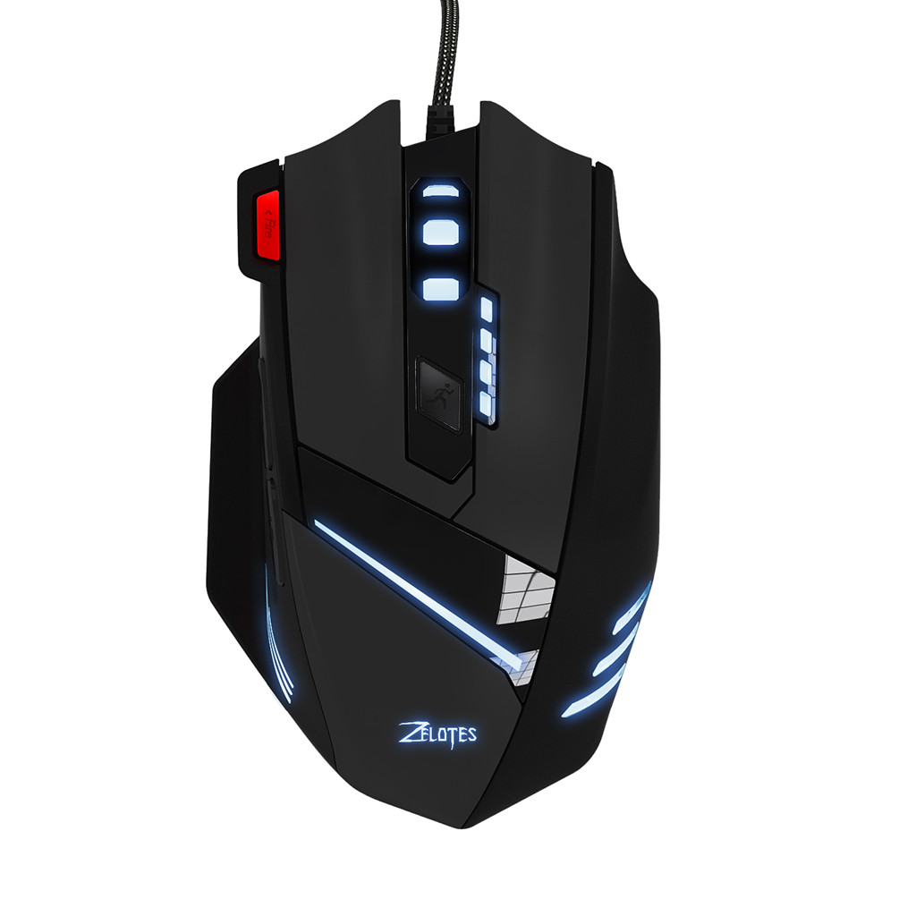 For ZELOTES T-60 7200 DPI 7 Button USB LED Color Cable Gaming Mouse And Mice 500 Hz 3000 FPS 5 Million 7 Life Cycle Windows image