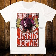 JANIS JOPLIN ONE NIGHT WITH POSTER RETRO VINTAGE HIPSTER UNISEX T SHIRT 1140 Short Sleeve Casual O-Neck Cotton