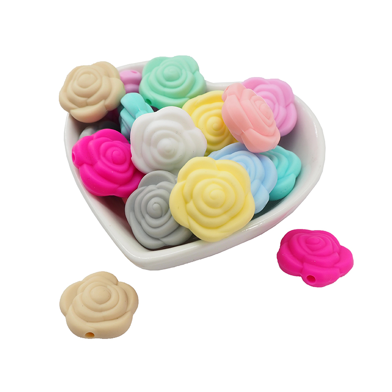 Chenkai 50PCS BPA Free Silicone Rose Beads Baby Flower Teething For DIY Chewable Nursing Pendant Pacifier Chain Accessories