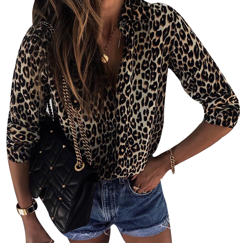 2020 New Spring Women Fashion Blouses Top Women V-neck Leopard Casual Print Tunic Long Sleeve Button Down Shirt Tops