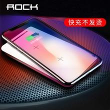 ROCK Wireless Charger สำหรับ iPhone X 8 PLUS 10W QI ชาร์จไร้สายชาร์จสำหรับ Samsung Galaxy S9 S8 S7 USB Charger Pad
