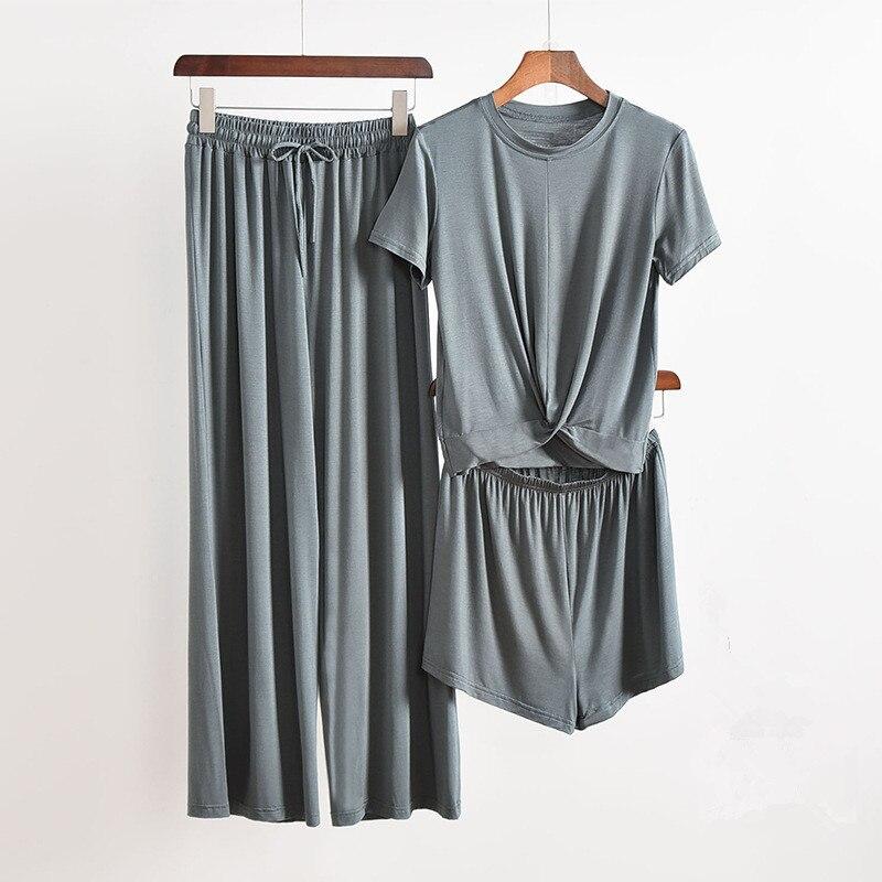 3 Piece Set Gray Home Suit For Women Modal Atoff Home Cloth Loose Women's Pajamas Set Female Homewear Suit Pink Ladies Sleepwear