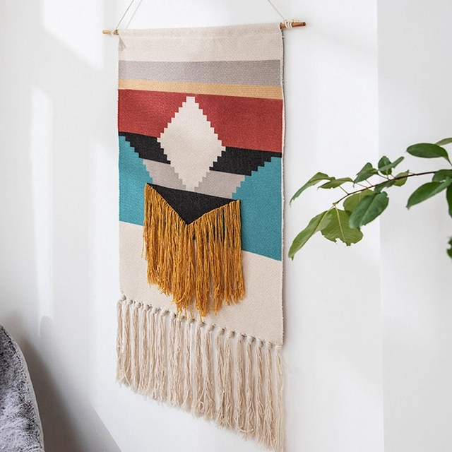 Geometrische Tapestry Hand Geknoopt Kwastje Bruiloft Gedrukt Muur Opknoping Decor Moslim Ornament Boho Home Decor Wandtapijten